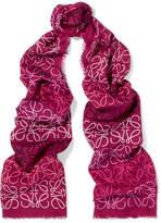 Loewe Printed Wool, Silk And Cashmere-blend Scarf - Fuchsia