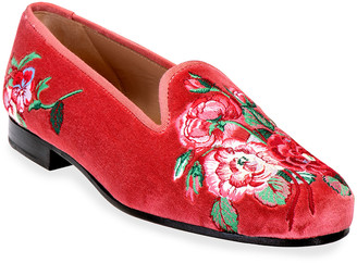 Stubbs And Wootton Rosey Embroidered Velvet Smoking Slippers