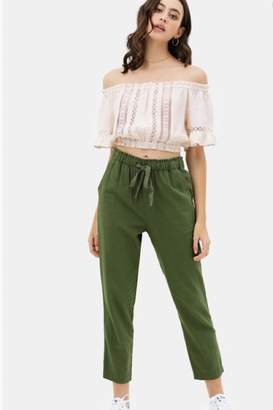 Love Tree Relaxed Fit Linen Pants With Elastic Waistband