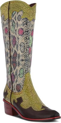L'Artiste Rodeo Western Pointed Toe Mid Calf Boot