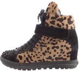Miu Miu Leopard Print Ponyhair Wedge Sneakers