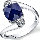 Ice 3 CT TW Lab-Created Blue Sapphire 14K White Gold Ring with Diamond Accents
