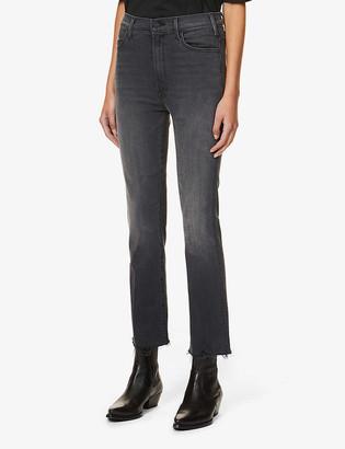 Mother Hustler Ankle Fray slim-leg high-rise stretch-denim jeans