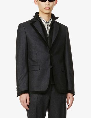 Fendi Velvet-trim wool-flannel jacket