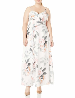 City Chic Women's Apparel Women's Plus Size Floral Printed Dress with Centre Ruffle