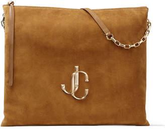 Jimmy Choo VARENNE SHOULDER/L Cuoio Suede Shoulder Bag with JC Logo