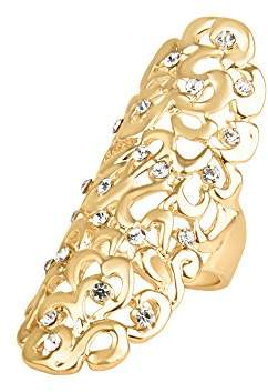 Front Row Gold Colour Crystal Long Ring - Size P