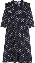 Comme des Garcons Ruffled Polka-dot Wool-jersey Dress - Navy