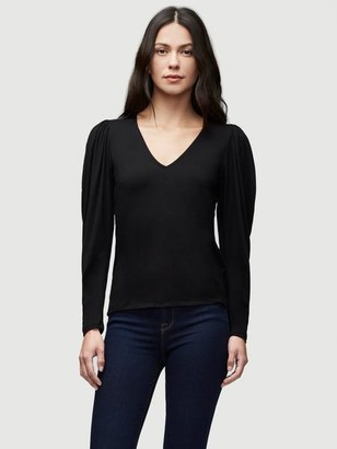 Frame Shirred V Neck Knit Top