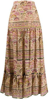 CHUFY Pleated Patterned Maxi Skirt