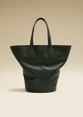 KHAITE The Medium Circle Tote in Hunter Green Leather