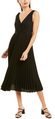Vince Pleated Twist Front Midi Dress