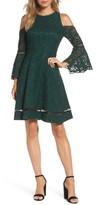 Eliza J Petite Women's Bell Sleeve Cold Shoulder Fit & Flare Dress