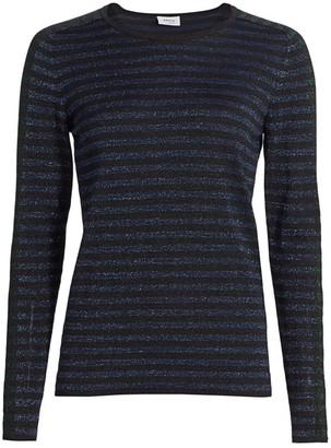 Akris Punto Metallic Stripe Lurex-Wool Knit Top