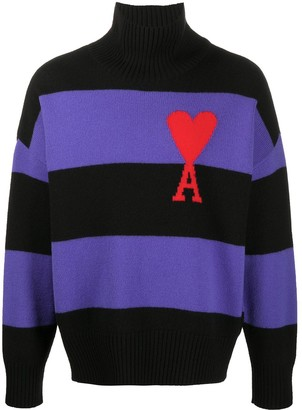 Ami de Coeur oversize funnel neck striped jumper