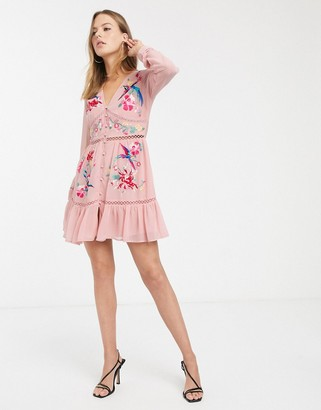 ASOS DESIGN embroidered skater mini dress with lace trims and pephem