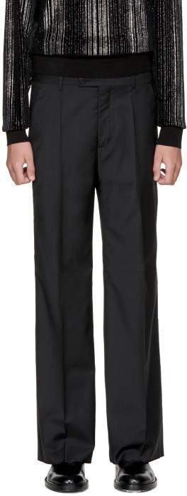 Maison Margiela Black Wool Full Leg Trousers