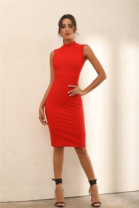 Miss Floral Turtle Neck Bodycon Bandage Midi Dress In Red