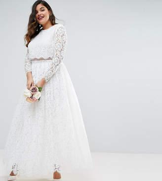 Asos EDITION CURVE BRIDAL Lace Long Sleeve Crop Top Maxi Dress-White
