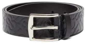 Burberry Tb Monogram-embossed Leather Belt - Mens - Black
