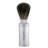 Jagger Matte Silver Badger Travel Shave Brush by Edwin