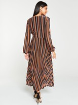 Very Lurex Wrap Stripe Blouson Sleeve Midaxi Dress - Stripe