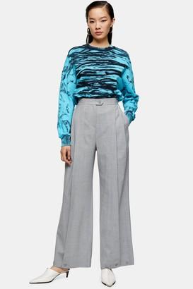 Topshop Womens **Grey Wool Blend Pleated Hem Trousers By Light Grey