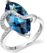 Ice 6 1/4 CT TW London Blue Topaz 14K White Gold Fashion Ring with Diamond Accents