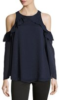 Catherine Malandrino Ruffle-Trim Cold-Shoulder Blouse, Navy