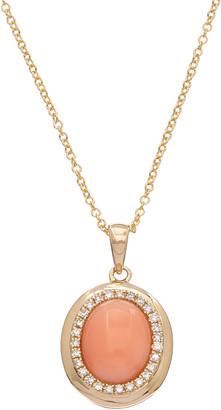 Effy 14K 1.48 Ct. Tw. Diamond & Coral Pendant Necklace