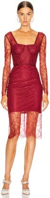 Jonathan Simkhai Lace Bustier Bodysuit Dress in Oxblood | FWRD