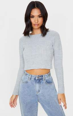 PrettyLittleThing Grey Cropped Rib Knit Jumper