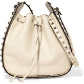 Valentino The Rockstud Leather Bucket Bag - Ivory