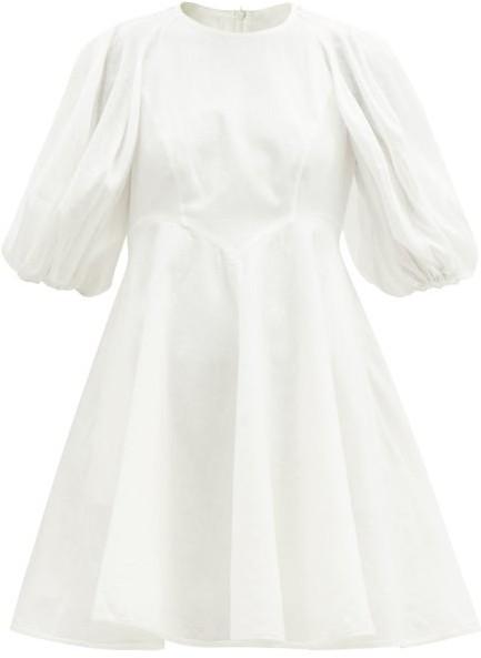 Zimmermann Puff-sleeve Linen Mini Dress - White