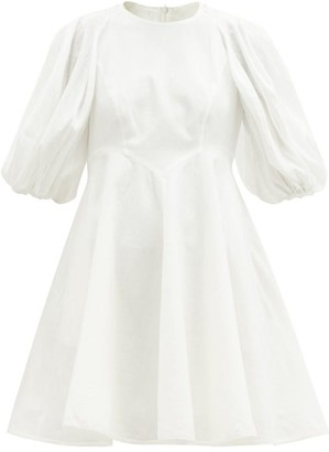 Zimmermann Puff-sleeve Linen Mini Dress - White