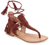 Sigerson Morrison Alysa Suede Fringe Accented Thong Sandals