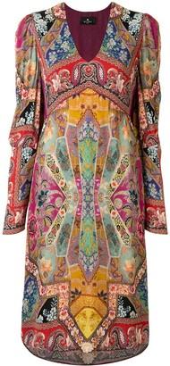 Etro Patchwork-Print Midi Dress