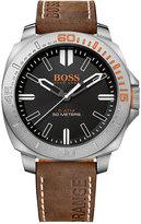 BOSS ORANGE Men's Sao Paulo Brown Leather Strap Watch 46mm 1513294
