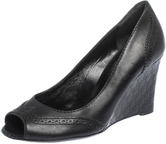 Gucci Black Leather GG Wedge Peep Toe Pump Size 36