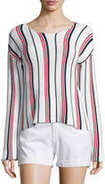 Frame Cropped Long-Sleeve Striped Top, Vertical Stripe