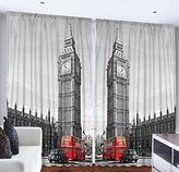 European Cityscape London Decor Big Ben Elizabeth Clock Tower Westminster Palace Double Decker Red Bus Routemaster Vintage British For Bedroom Living Kids Youth Room Curtains 2 Panels, 108x90 Gray Red