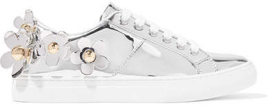 Marc Jacobs Daisy Appliquéd Metallic Leather Sneakers - Silver
