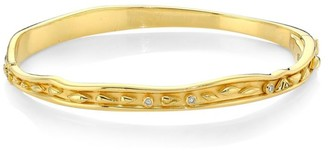 Temple St. Clair Nature Deconstructed River Wave 18K Yellow Gold & Diamond Small Bangle Bracelet