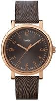 Timex Round Tweed Print Leather Strap Watch, 38mm