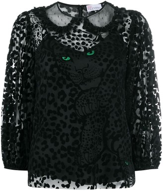 RED Valentino Sheer Leopard-Print Blouse