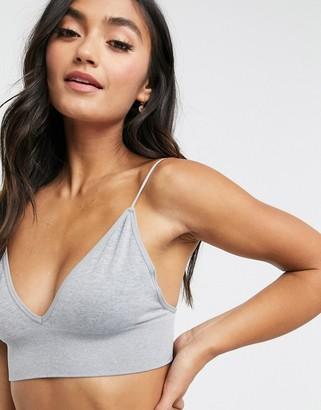 Cotton On seamfree rib longline ballet bra in grey marl