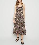 New Look Floral Print Tiered Hem Midi Dress