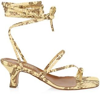 Paris Texas Ankle-Wrap Python-Embossed Leather Sandals