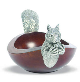 Vagabond House Large Acacia Wood Nut Bowl with Black Forest Pewter Metal Squirrel Head and Tail