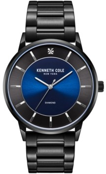 Kenneth Cole New York Men's 3 Hands Slim Black plated Stainless Steel Watch on Black plated Stainless Steel Bracelet, 42mm